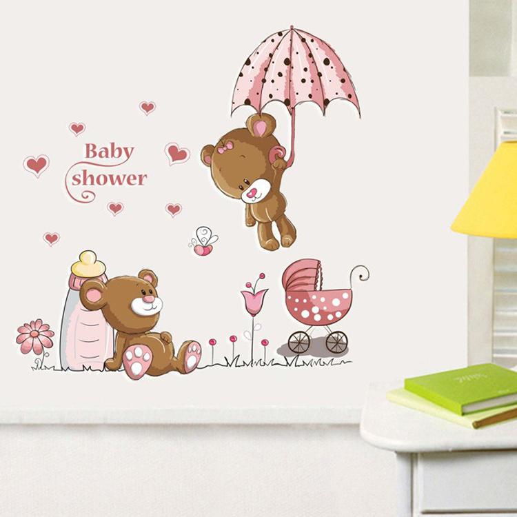 Cartoon rabbit flower wall sticker for baby girls kids for Stickers habitacion bebe